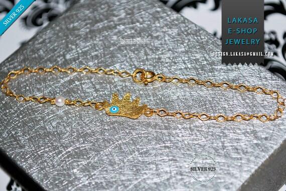 Crown Enamel Eye Pearl Chain Bracelet Sterling Silver Gold plated Greek Art Jewelry Best Gift Ideas for her Birthday Anniversary Woman Kids