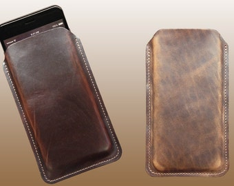 Horween Leather iPhone Sleeve, iPhone 6, 6S, 7, 8, 6 Plus, 6S Plus, 7 Plus, 8 Plus Leather Case