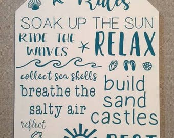 Beach Rules Handpainted Wood Sign|Beach|Relax|Soak Up The Sun