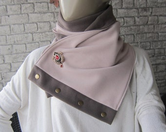 light pink neckwarmer/chunky Scarf /,Scarf with snaps  Cowl Scarf, Chunky, women accessories and broş