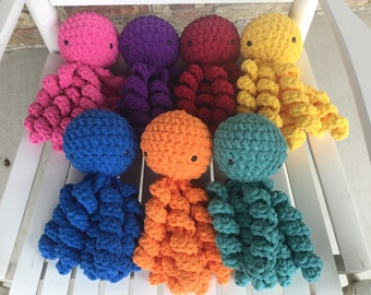 Crochet octopus stuffed baby toy with safety eyes bright colors soft and plush 11 inch length