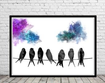 Swallow, watercolor swallow, swallow print, watercolor print, Nursery watercolor, Kids Room Decor, Poster, Wall Art, Home Decor (2555b)