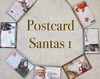POSTCARD SANTAS 1 Garland--Christmas banner, Santa banner, Xmas gift, Xmas dorm decor, Xmas office decor, Merry Xmas banner, Xmas mantel