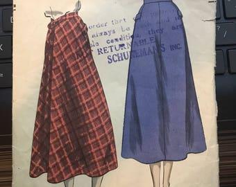 Vintage 40s Vogue 6491 Skirt Pattern-Size 24 Waist, 33 Hip