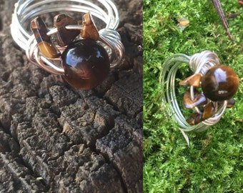 Tigers Eye Wire Wrapped Ring, Sterling Silver Wire Wrapped Ring with a Tiger Eye Beads