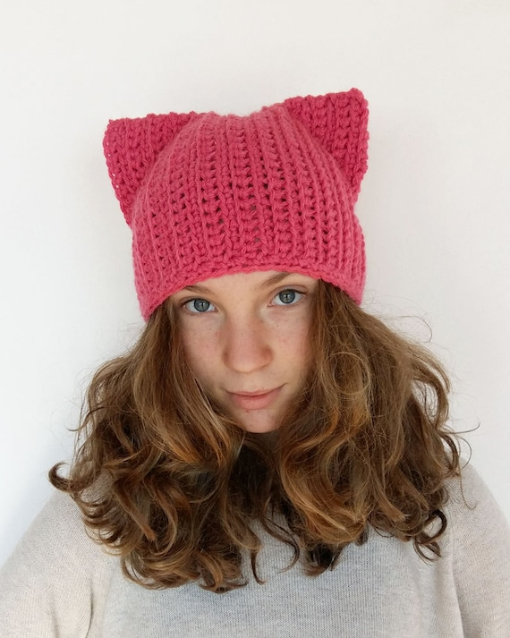 Pink Cat Hat, Pink Pussycat Hat, Pink Cat Beanie Hat, Crochet Pussycat Hat,  Pussy Cat Hat, Feminist Hat, Women's March Hat