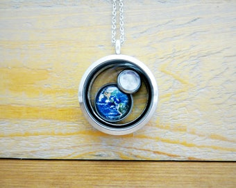 Floating Earth and Moon Silver Locket