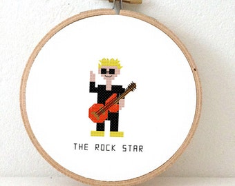 Rock star Cross stitch pattern. DIY gift for boy.  Gift for Guitar players. Gift for guitarists. I prefer guitarists