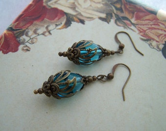 Vintage Style Aqua Blue Earrings