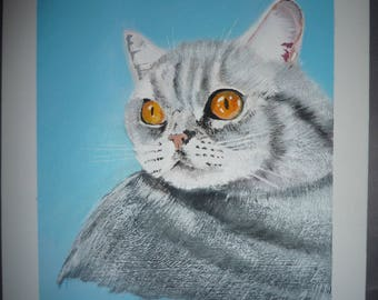 Cat Portrait in Acyrlic original art gift idea cat portrait grey cat cat picture cat painting wall art