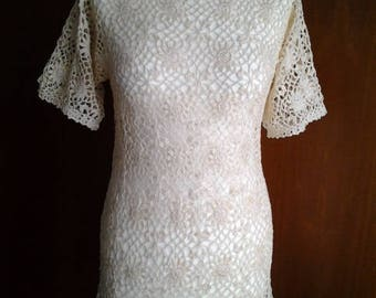 Crochet dress / handmade crochet tunic / cover-up / boho crochet dress / authentic handmade / cotton 100% / size S color beige ready to ship