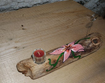 Picture (handmade) Driftwood candle holder/frames