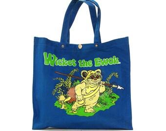 80s Wicket the Ewok Tote Bag / Vintage 1980s Star Wars Return of the Jedi Bag / Blue Cotton Book Bag