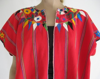 Vintage 70's Embroidered Vintage GUATEMALAN Huipil Poncho/ Blouse