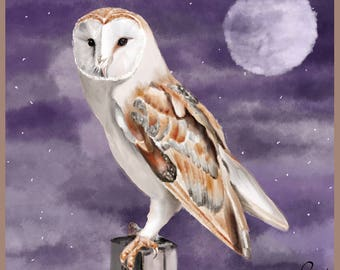 Owl - Print - 5.5 x 5.5 inches - Art - Birds - Woodland - Birds of Prey - Night