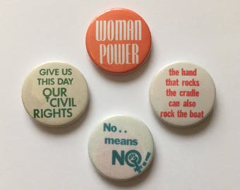 4 Pack Vintage Remake Feminist Button Pin Badges Woman Power Venus Symbol