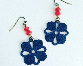 Nora Crochet Earrings in Navy, Lace Doily Earrings, Floral Fashion, Nautical Jewelry, Gift Under 50, Crochet Flower, Petal, Maritime