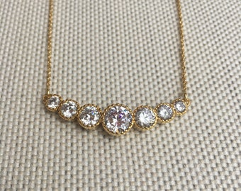 18k Gold Plated Cubic Zirconia Pendant Dainty Necklace
