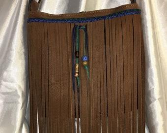 Repurposed brown leather fringed beaded boho hippy bag