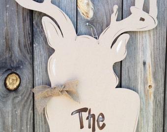 Door Decor, Boy's Room, Hunting, Holiday, Wreath, Door Hanger, Door Art, Hunting, Deer, Antlers,  Deer Hunter, Silhouette