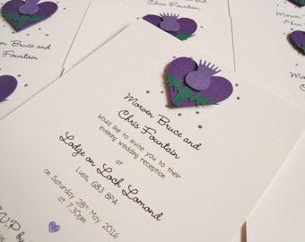 Scottish Thistle Wedding Invitation Thistle Wreath Scottish