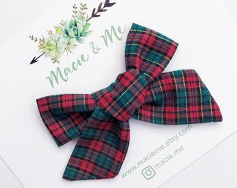 Red and Green Plaid Tied Hair Bow