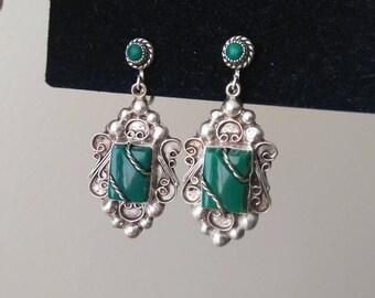 Vintage Green Onyx Sterling Silver Earrings Screw back 925 Mexico Filigree Tribal Boho EG2