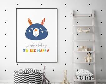 Perfect day happy print, baby girl nursery decor, printable decor, best selling items, printable quote, digital print girl nursery art