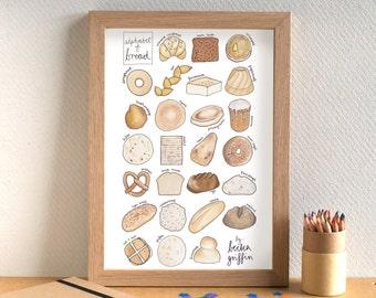 Bread Alphabet Print - food art - kitchen art - gift for foodie