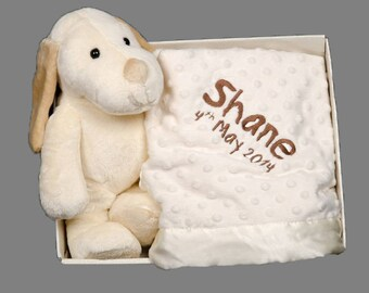 Personalised Puppy and Blanket gift box set