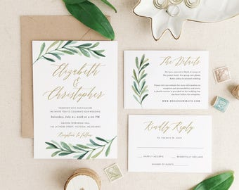 Greenery Wedding Invitation Template, Printable Wedding Invitations,  Invitation Suite | Edit In Word Or