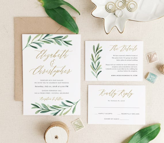 Greenery Wedding Invitation Template Printable Wedding - Wedding invitation templates: wedding invitation suite templates
