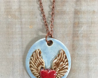 Winged Heart Necklace Pendant-Porcelain Jewelry-Kim OHara Designs-Ceramic Jewelry