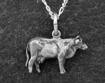 Sterling Silver  Milk Cow Pendant on Sterling Silver Chain.