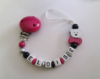Pacifier clip personalized name, pink, silver, black color. Wooden beads attached pacifier. Idea birthday gift / baby accessory