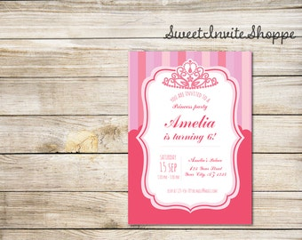 Princess Invitation Royal Party Gold Elegant with FREE