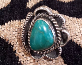 Sterling silver native American turquoise ring,  size 7