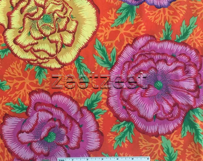 Kaffe Fassett HENLEY Orange Orchid Quilt Fabric - by the Yard, Half Yard, or Fat Quarter Fq Spring 2016 designed by Philip Jacobs PWPJ078