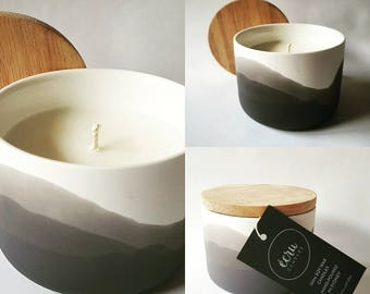 Charcoal tones, Scented Soy Candle,Glazed ceramic inside makes this a re-useable storage container post candle.festive candles,secret santa