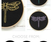 Dragonfly embroidery kit, DIY embroidery hoop art, modern hand embroidery pattern, insect embroidery pattern, dragonfly needlecraft pattern