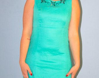 Donna Morgan Vintage Turquoise Beaded Sleeveless Linen Sheath Dress