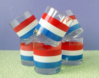 Georges Briard tumblers, glasses, cups, red white and blue - vintage items by Kitsch Cafe on Etsy
