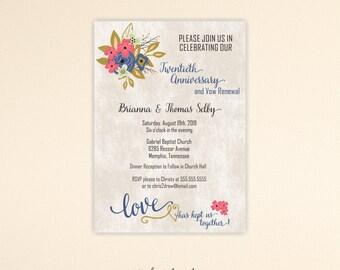 Vow Renewal Invitation, 5th, 10th, 20th, 25th, 30th, 40th, 45th, 50th, Anniversary Invite, Wedding, digital, printable, invite V125151