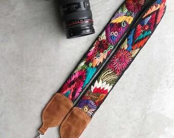 Camera Strap, Embroidered Strap, Boho camera Strap, Mayan Strap, Embroidered Vintage Huipil Strap, Embroidered Bag Strap