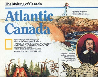 Canada, Map, National Geographic Map, The Making of Canada, Atlantic Canada, 1993, good shape