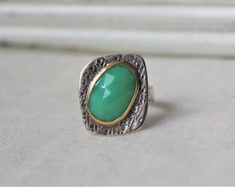Sterling silver, 18k Yellow Gold and Australian Chrysoprase Ring - SIZE 8.25 - READY to SHIP