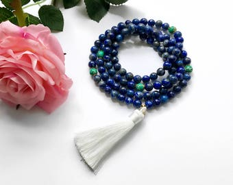 Tassel Mala Necklace, Mala Necklace, Mala Beads, Blue Lapis Mala, 108 Mala Beads, Blue Beaded Necklace, Yoga Necklace, Prayer Beads, MBLT
