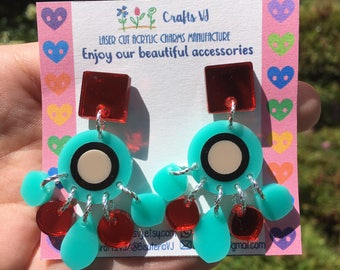 Turquoise & mirror red round drops (Laser Cut Acrylic Earrings)