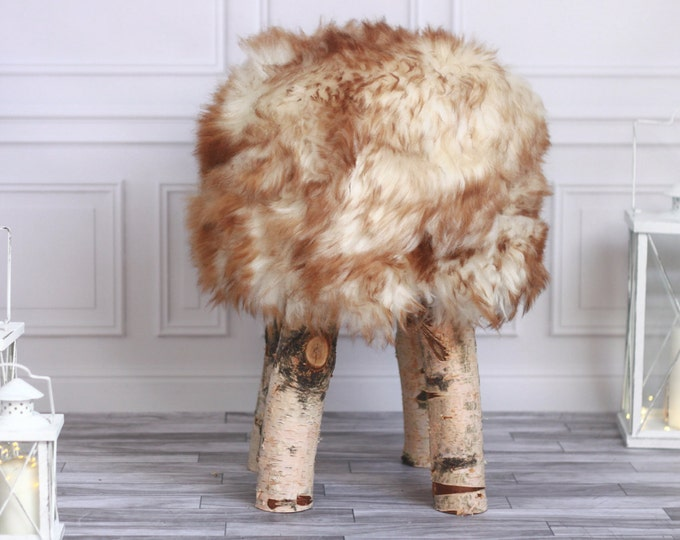Sheepskin stool | Birch Tree Stool | Wood Stool | Fur Stool | Dressing Stool | Wooden Stool | Scandinavian Stool