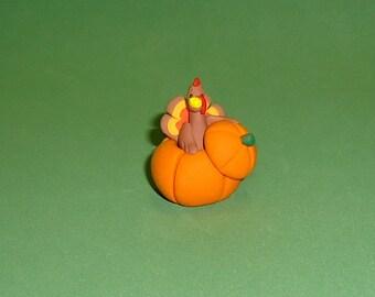 Polymer Clay Turkey in Pumpkin